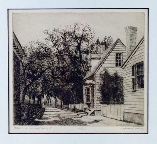 Leonard MERSKY - Estampe-Multiple - Street in Williamsburg, VA