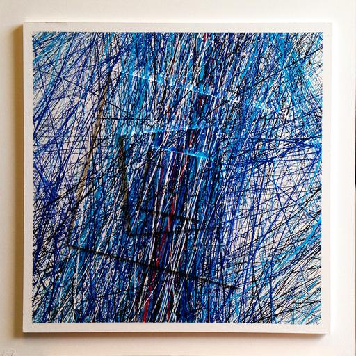 Michel BISBARD - Peinture - Dripping bleu sur blanc