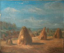 Konrads Aleksandrs UBANS - Painting - Landscape with green cat