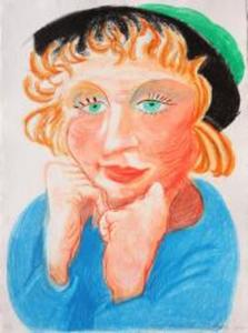 David HOCKNEY, Celia with Green Hat