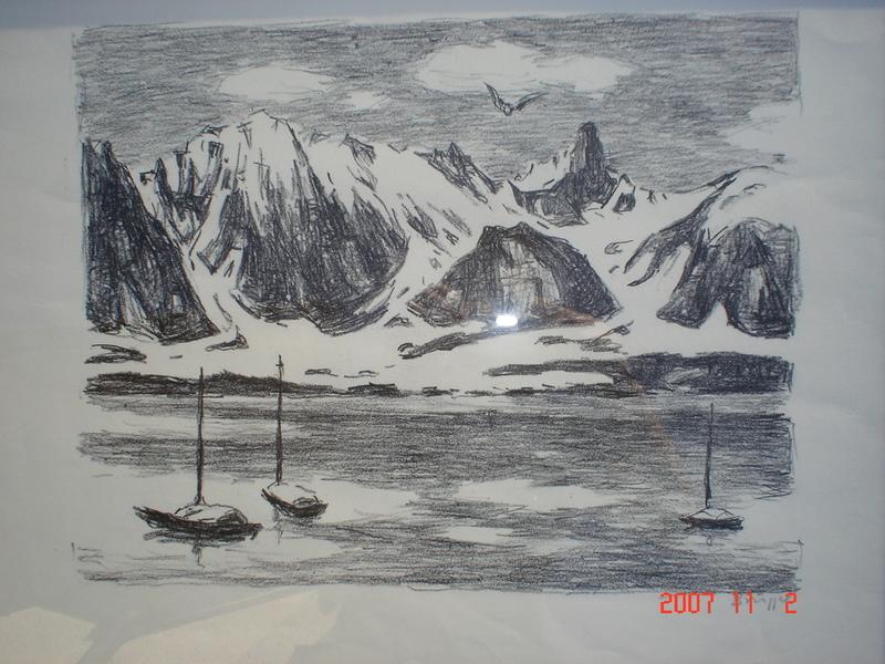 Arnold BRÜGGER - Dibujo Acuarela - lac de montagnes