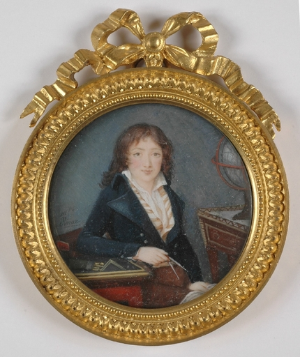 "Mademoiselle RIVIERE - Miniatur - ""Young Geographer"", Portrait Miniature"