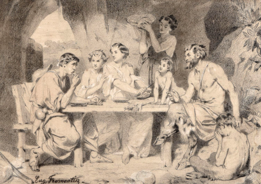 Eugène FROMENTIN - Dibujo Acuarela - Bacchanal with Bacchus & Fauns c.1843