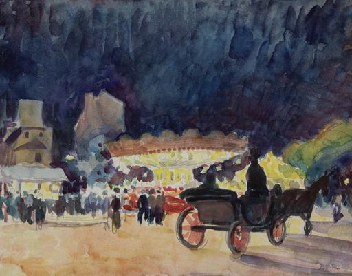 Ludovic Rodo PISSARRO - Zeichnung Aquarell - Calèche devant un Manège