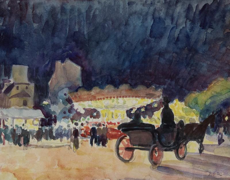 Ludovic Rodo PISSARRO - Drawing-Watercolor - Calèche devant un Manège