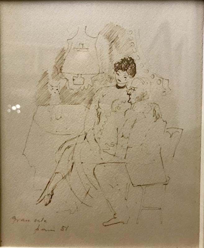 Emilio GRAU-SALA - Dessin-Aquarelle - Couple with cat