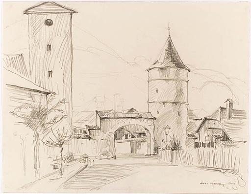 "Hilde HEIGL - Dibujo Acuarela - ""In an Alpine Village"", 1963"