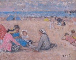 François GALL - Painting - At the beach
