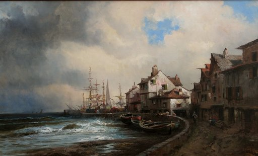 Alfred GODCHAUX - Painting - SPECTACULAIRE MARINE AUX VOILIERS