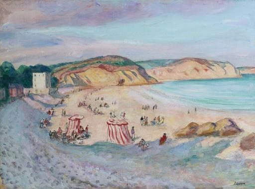 Henri Baptiste LEBASQUE - Gemälde - La plage de Morgat