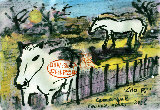 Jean-Pierre CHEVASSUS-AGNES - Dessin-Aquarelle - chevaux en Camargue
