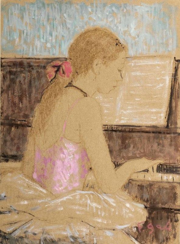 François GALL - Painting - Jeune Fille au Piano