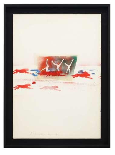 Alighiero BOETTI - Drawing-Watercolor - Ancora quanti salti di palo in frasca