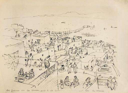 Charles BROUTY - Disegno Acquarello - Les femmes sur les terrasses
