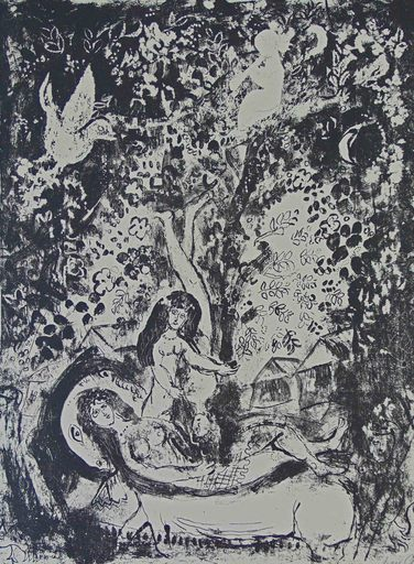 Marc CHAGALL - Print-Multiple - Branch with Flute Player