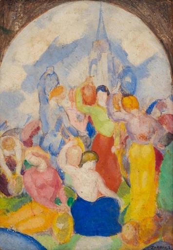 Angel ZARRAGA ARGÜELLES - Painting - Porteuses de cruche et étude de baigneuse