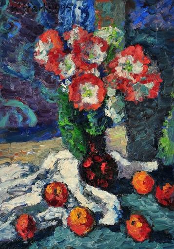 Karl STARK - Pintura - Stillleben Blumen und Obst