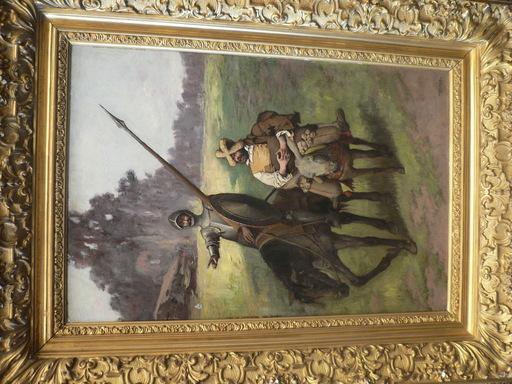 Enrique ATALAYA - Painting - el quijote y sancho panza