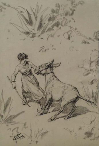 """Hermann GIESEL - Disegno Acquarello - """"Obstinate Donkey"""" by Hermann Giesel,  late 19th Century"""