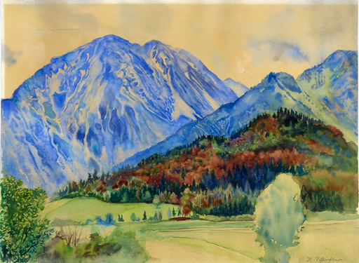 Rudolf SCHLICHTER - Drawing-Watercolor - Berglandschaft