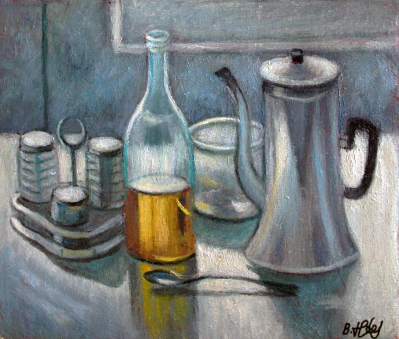Valeriy NESTEROV - Pittura - Still Life with Coffee Pot