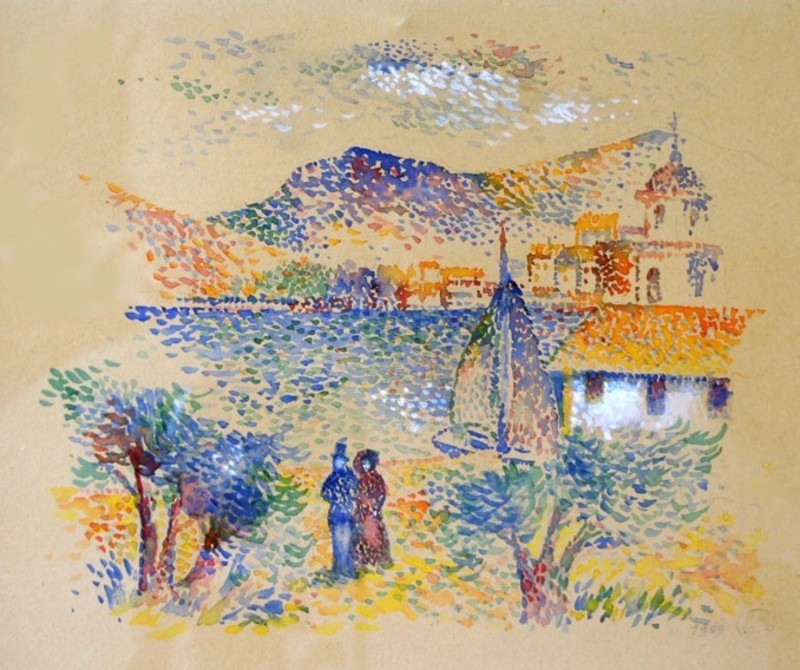 Lucien NEUQUELMAN - Dibujo Acuarela - La Capitainerie