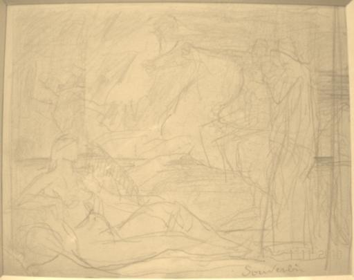 Jean SOUVERBIE - Drawing-Watercolor - ETUDE MYTHOLOGIQUE, NU AUX CAVALIERS