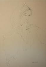 Michel CIRY - Dibujo Acuarela - Jeune femme au foulard