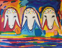 Menashe KADISHMAN - Painting - Three Goat Heads