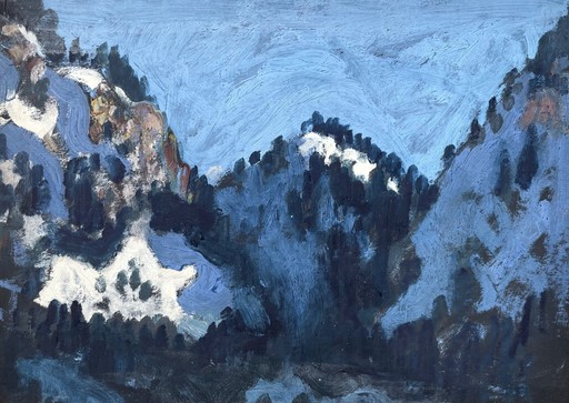Alfons WALDE - Painting - Berg- und Tallandschaft im Winter