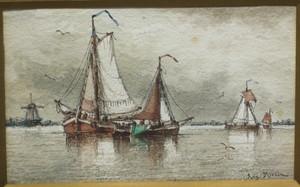 Auguste Henri MUSIN - Zeichnung Aquarell - Segel boote und Windmühle