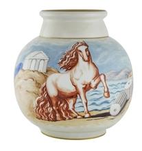 乔治•德•基里科 - 陶瓷  - Vaso di Sèvres con cavallo ed architettura