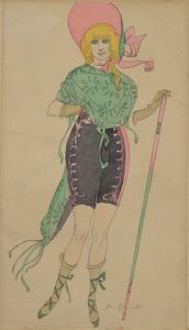Aroldo BONZAGNI - Zeichnung Aquarell - STANDING GIRL