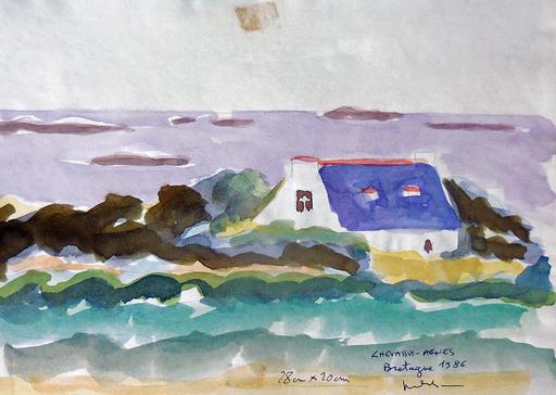 Jean-Pierre CHEVASSUS-AGNES - Dessin-Aquarelle - maison Bretonne traditionnelle  au bord de l'océan