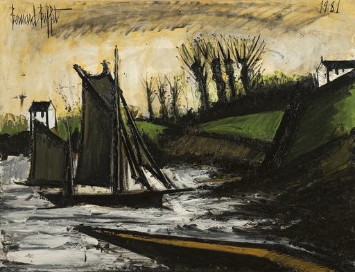 Bernard BUFFET - Painting - Bateau de pêche