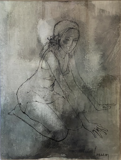 Jean JANSEM - Zeichnung Aquarell - Kneeling Girl