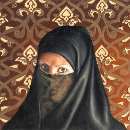 Fatima ABU RUMI - Gemälde - Self-Portrait under a Veil