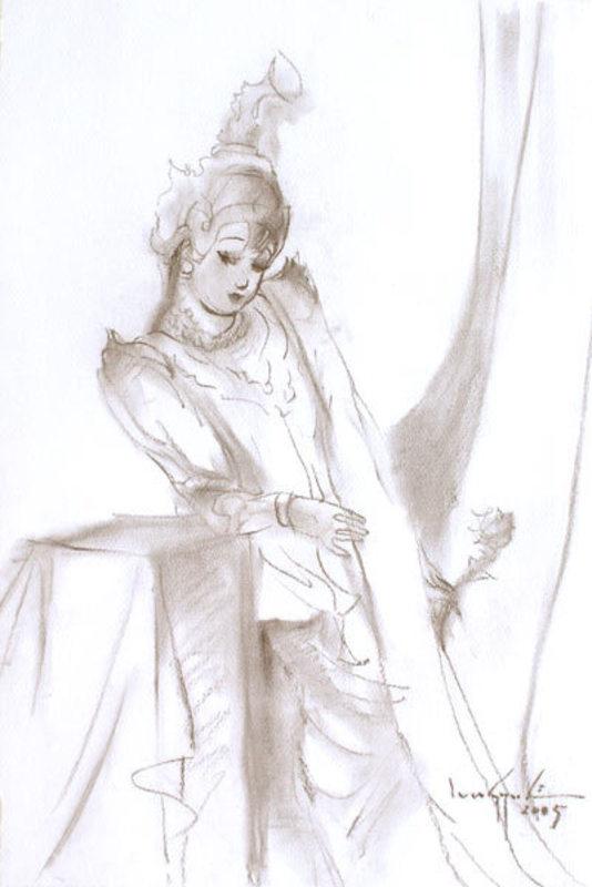 Lun Gywe U - Drawing-Watercolor - A Traditional Burmese Dancer