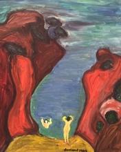 Christian DURIAUD - Pintura - Baigneuses dans la calanque(Hommage à Ribemont-Dessaignes)