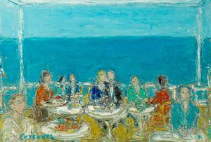 André COTTAVOZ - Painting - Le Restaurant devant la mer