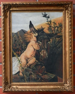 Amalie MANESOVA - Painting - A donkey with a baby