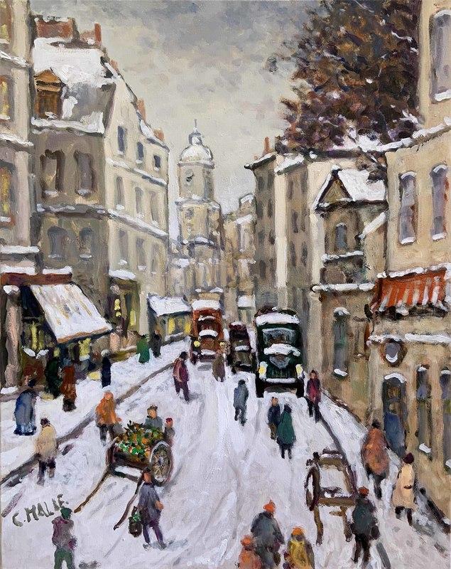 Charles MALLE - Peinture - Paris, la rue St Jacques