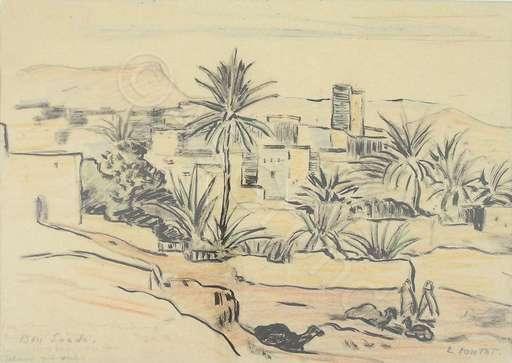 Léonie CONTAT - Drawing-Watercolor - Bou Saada , Algerie (Orientalist)