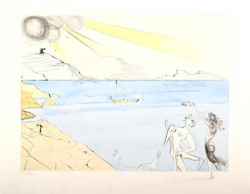 Salvador DALI - Grabado - After 50 Years of Surrealism, The Laurels of Happiness