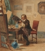 "Johannes VETTEN - Drawing-Watercolor - ""Artist in His Studio"", Watercolor"