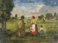 Béla Iványi GRÜNWALD - Pintura - Family in the Field