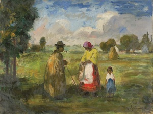 Béla Iványi GRÜNWALD - Painting - Family in the Field