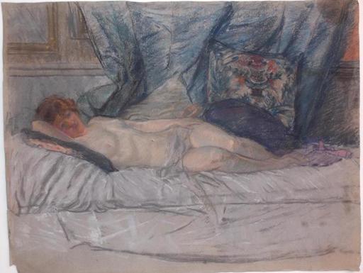 Marguerite Mary DARBOUR - Dessin-Aquarelle - femme nue au divan