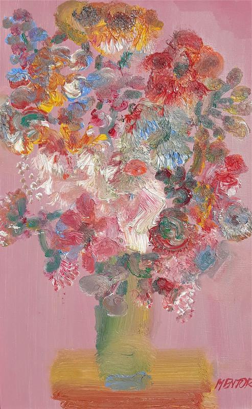 Blasco MENTOR - Painting - Fleurs sur fond rose