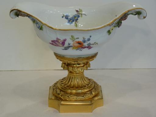 Coupe en Porcelaine de Meissen, Monture Bronze Doré